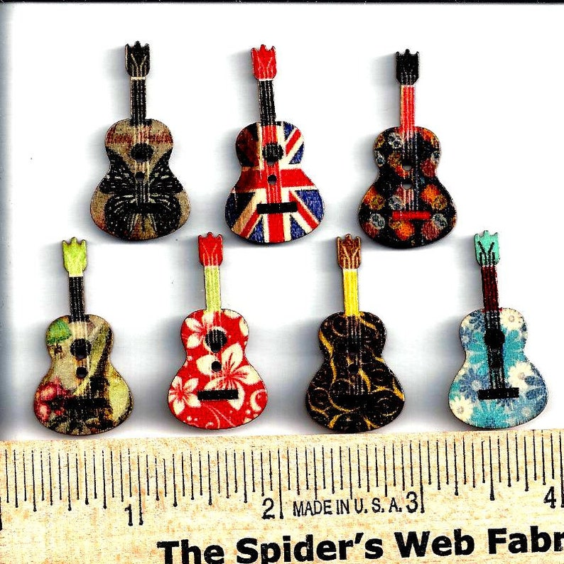 Strings Acoustic Guitar Metal Craft Sewing Novelty Buttons Set of 4