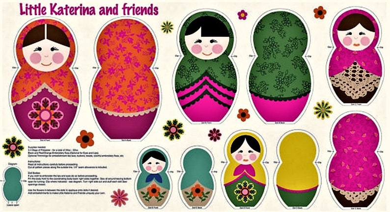 Little Katerina & Friends Fabric Panel -5 Dolls - Cut Stuff and Sew -  Dollmaking - by Benartex - Russian Stacking Dolls - 100% Cotton
