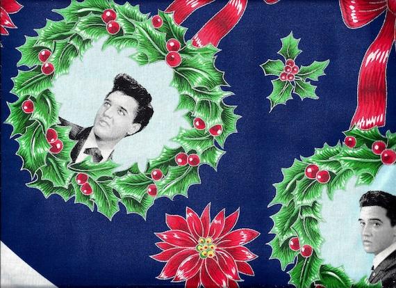 50 - ELVIS PRESLEY Christmas Tree Skirt & Ornament Panel Fabric Etsy
