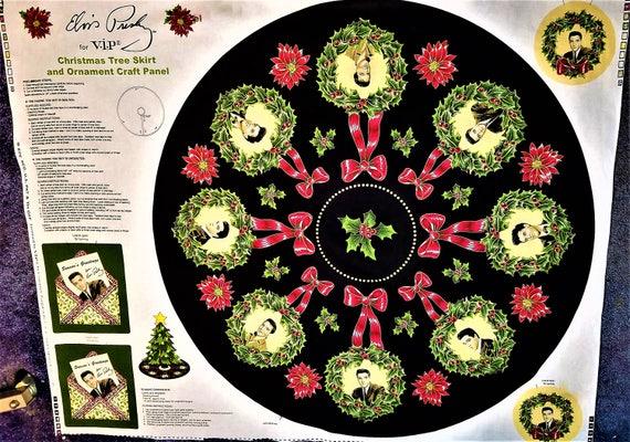 image 0 - ELVIS PRESLEY Christmas Tree Skirt & Ornament Panel Fabric Etsy