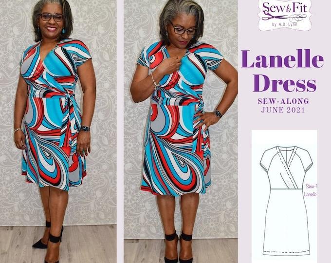 Lanelle Dress Knit Stretch  Dress w/Surplice neckline-Digital Download
