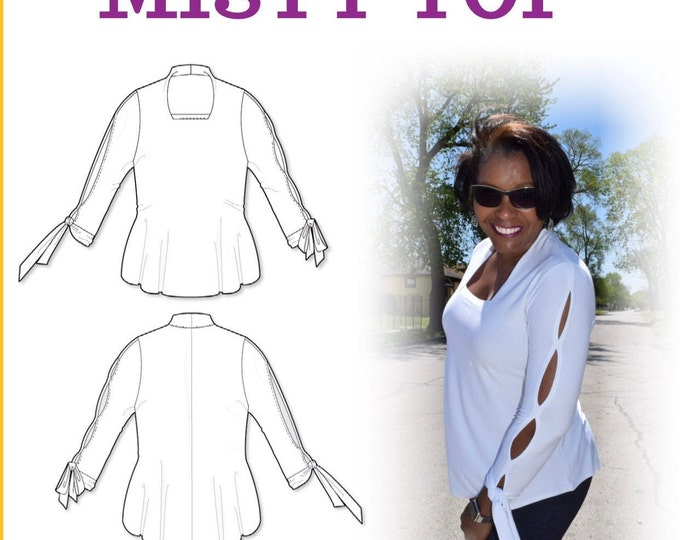 Misty Knit Top fashion sewing pattern- Digital Download