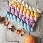Mini Skein yarn Set, Hand dyed yarn, 5 x 20g skeins, 4ply yarn, sparkle sock, DK yarn, Yorkshire Dale Yarns, Sunset on the Dales colourway