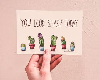 You Look Sharp Today - Hand Painted - 4x6 - Illustration - Made to Order