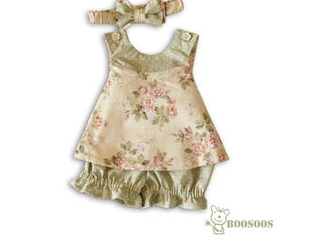 Flowers and Dots Reversible Baby Pinafore