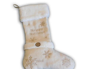 Burlap/Fur Happy Holidays Stocking