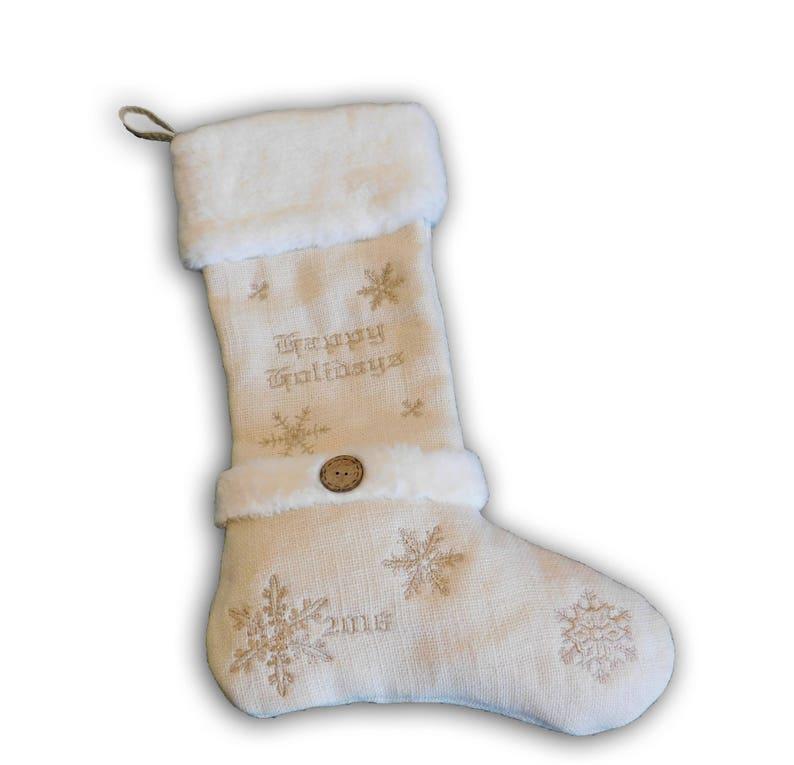 Burlap/Fur Happy Holidays Stocking image 0