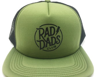 e8d3c1e571665 Rad Dads Club Hat Olive and Black Foam Trucker Hat Cap Father s Day Gift Dad  Gift Cool Dad New Dad Gift baby shower gift for him new father
