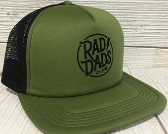Rad Dads Club Hat Olive and Black Foam Trucker Hat Cap Father s Day Gift Dad  Gift Cool Dad New Dad Gift baby shower gift for him new father 97f07c74fd38