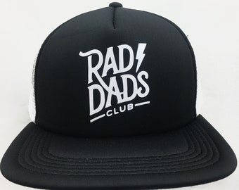 ba8c18571c2 Rad Dads Club Hat Black and White Foam Trucker Hat Cap Father s Day Gift  Dad Gift Cool Dad New Dad Gift baby shower gift for him new father