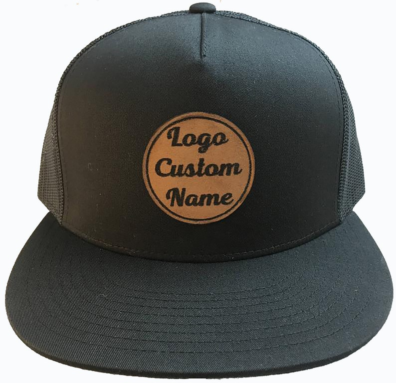 d8bddd09a5d44 Customized Hat Leather Patch Black Hat Personalized Text Name