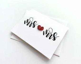 mrs & mrs card   LGBTQ wedding   wedding card   anniversary card   gay wedding card   engagement card   lesbian wedding card