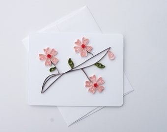 cherry blossom card   handmade card   quilled card   paper quilling   greeting card   blank card   quilling paper art   flower card   nature