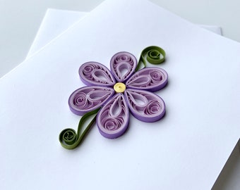 flower card   quilled card   quilling paper art   greeting card   blank card   just because card   thank you card   card for her   lover
