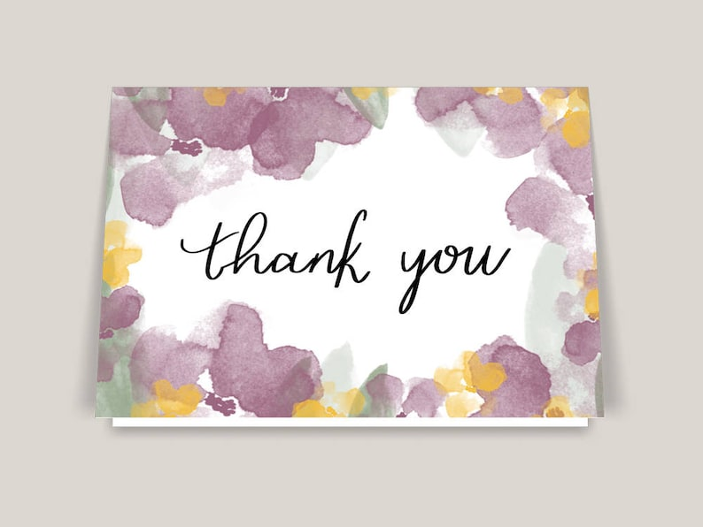 Floral Greeting Card Printable Thank You Cards Wedding Thank You Cards A2 Card Greeting Card