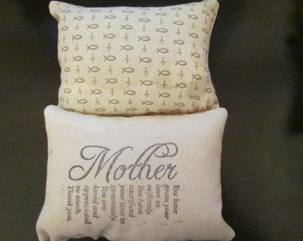 Mothers Day Quote Pincushion mini pillow Christ symbols Display pillow