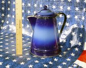 Vintage ENAMELWARE COFFEE POT - 1940 39 s Era Kitchen Ware Two Tone Blue - White and Black Interior and Handle -Heavy Old Cooking Enamel Ware
