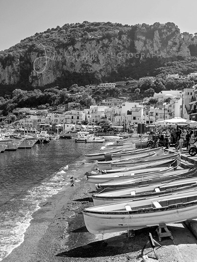 e68a26c5fec9c Island of Capri Italy Boats on the beach Fine Art