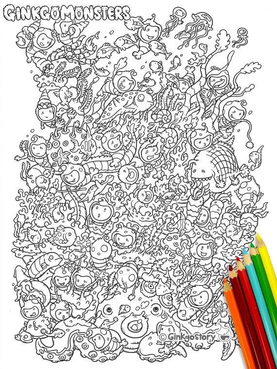Coral Reef Monsters Coloring Pages / DIY Digital Printable Etsy