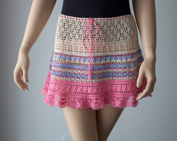 Clothes Summer Cotton Lacy M Woman Skirt Skirt for Size Skirt Crochet Skirt Beach Skirt for Gift Pink Mini Woman Designer ZwX1aAx