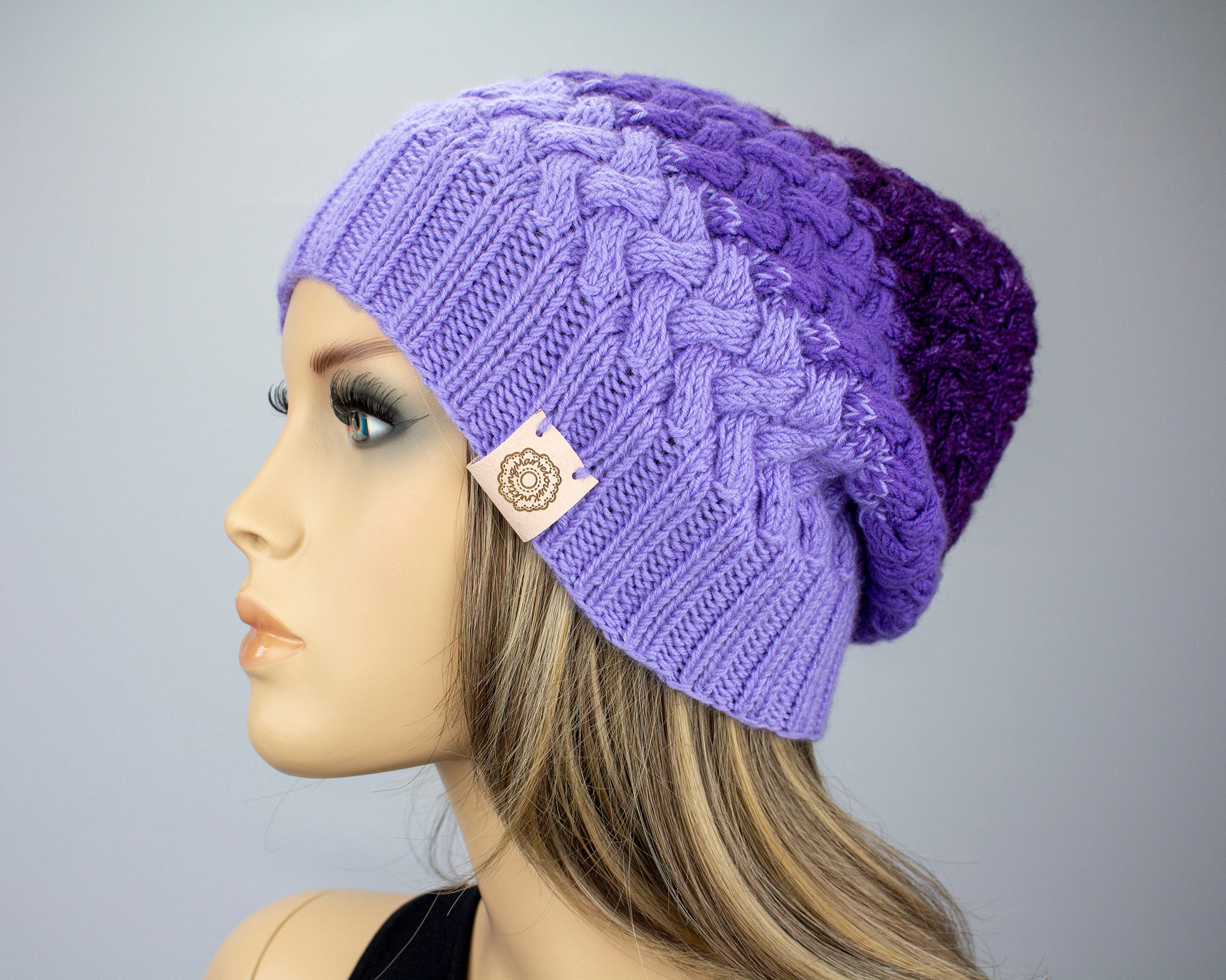 c64845503ec Purple Knitted Hat   Merino Wool Hat for Women   Slouchy