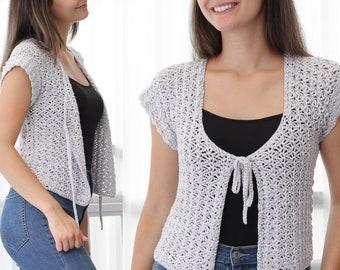 Crochet pattern-AVA Crochet cardigan pattern PDF-Women crochet pattern-pullover pattern top- crochet shrug -summer cardigan top-sizes XS-3XL