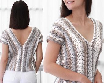 Crochet pattern-AMANDA Crochet top pattern-Women crochet pattern-Crop top pattern- Beach cover-up -Festival top- Boho lace top- sizes XS-XXL