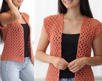 Crochet pattern-HARPER Crochet cardigan pattern PDF-Women crochet pattern-pullover pattern- crochet shrug -summer cardigan top-sizes XS-3XL
