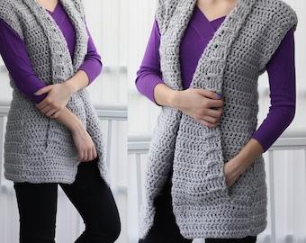 Crochet pattern, Patron crochet, Aria crochet vest PDF, women crochet pattern, Crochet sweater, 7/9 y, 10/12y - XS- S - M - L – XL- 2XL- 3XL