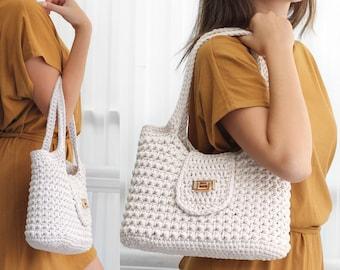Crochet bag pattern-MILANO Fashion bag -Crochet handbag pattern-Crochet bag purse-Crochet tote -Handmade bag-Crochet pattern trendy bag  PDF
