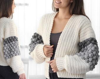 Crochet pattern-NAOMI Crochet cardigan pattern PDF-Women crochet pattern-bobble pullover pattern top- crochet bobble cardigan-7 sizes XS-3XL