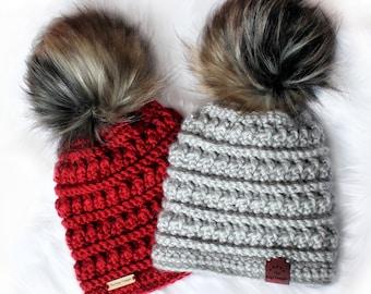 86d36c43169 Easy Crochet pattern-Crochet hat– EVELYN Beanie Hat Pattern-Crochet hat  pattern PDF-Crochet beanie Pom Pom (Toddler-Child–Teen- Adult sizes)