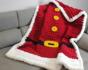 Crochet pattern- 3 Sizes - SANTA Crochet blanket pattern-Crochet Throw patterns PDF-Crochet Throw Blanket Afghan-Christmas crochet patterns