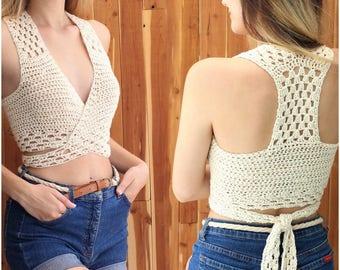 """0b13950232d Easy crochet PDF top pattern, Patron crochet, GIOIA crochet halter top,  Crochet pattern, Crochet top pattern, Bust 30""""- 44"""" Sizes S-M-L-XL"""