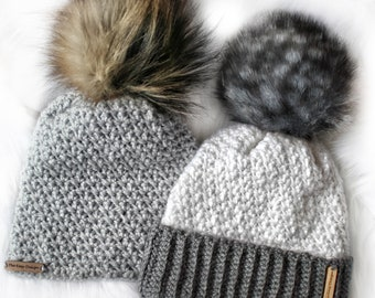 1dc5d2a1c1759 Easy Crochet pattern-Crochet hat– TOPAZ Beanie Hat Pattern-Crochet hat  pattern PDF-Crochet beanie Pom Pom (Toddler -Child –Teen- Adult size)