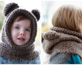 Knitting pattern, Knit hat, Patron tricot – Brian Bear Hooded Cowl Hood Hat  Bonnet (12 18 month - Toddler - Child – Teen- Adult ) Halloween 00111c48ac3