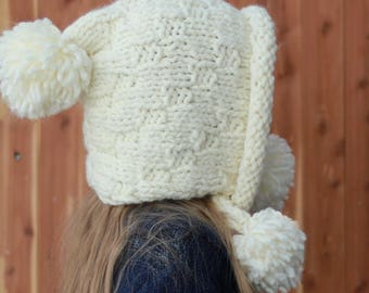 Easy Knitting pattern, beginner, Patron de tricot, english  french,  Braelynn - Easy Earflap, Cache-oreilles, Pixie Hat Bonnet (S- M-L sizes) 7e949005b6f