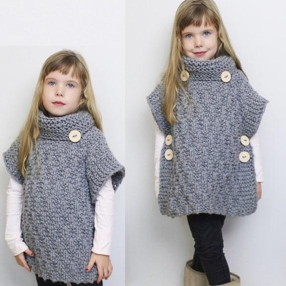 Knit pattern Patron tricot KADEE Knit Poncho Pattern PDF | Etsy