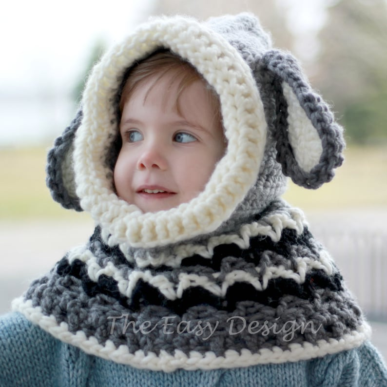 c9be990fc6d3 Crochet hat pattern Patron de crochet Dean Dog Hooded Cowl