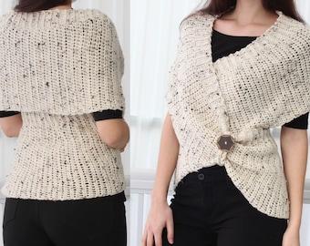 Easy-Beginner Crochet pattern PDF, Leya Crochet Infinity Wrap-Vest, Crochet Wrap Poncho Vest/Crochet wrap sweater sizes XS/S, M, L, XL, 2XL