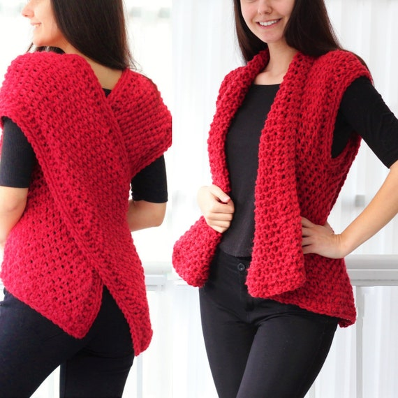 Easy Knitting Pattern Dara Knitted Vest Pdf Knit Infinity Etsy