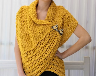 Easy Knitting pattern, Beginner Wrap PDF, Patron tricot, Corali Knitted Wrap, Knitted Poncho, Knitted Scarf bulky- medium yarn, knit pattern