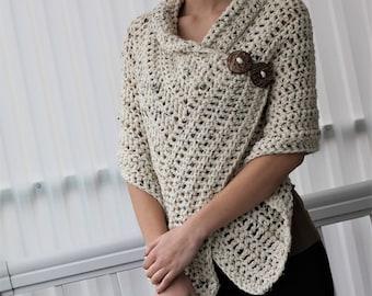 Easy Crochet pattern, Beginner crochet, Patron crochet, AZALI Crochet Wrap PDF, Crochet Poncho, Crochet Scarf all seasons, bulky/medium yarn