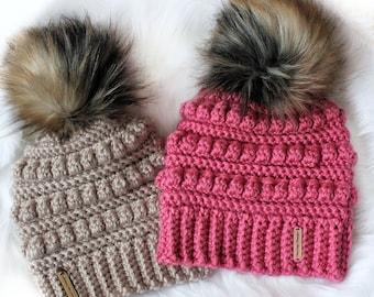 Easy Crochet pattern-Crochet hat– ISABEL Beanie Hat Pattern-Crochet hat pattern PDF-Crochet beanie Pom Pom (Toddler-Child–Teen- Adult sizes)