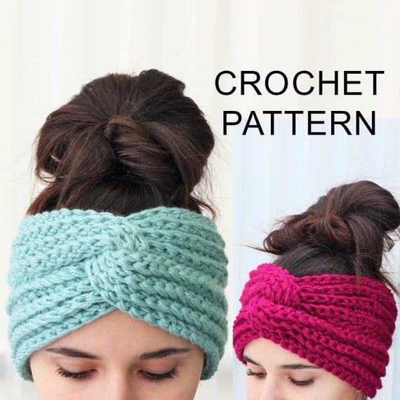 Crochet Pattern Pdf Patron De Crochet Hana Turban Ear Warmer Boho Head Wrap Crochet Headband Boho Crocheted Headband Crochet Headwear