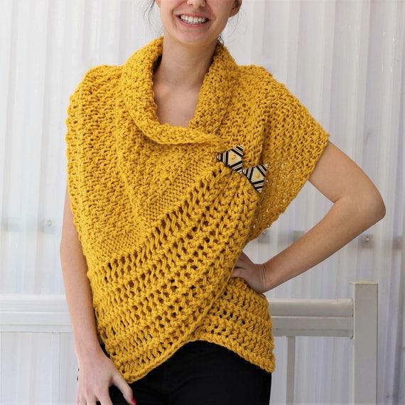 Knitting Pattern Patron De Tricot Corali Knitted Wrap Pdf Etsy