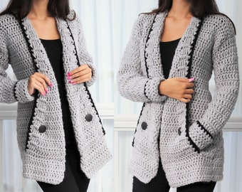 Crochet pattern -Patron crochet-Mia Crochet cardigan PDF -women crochet vest pattern-crochet sweater- 7/9y-10/12y- XS- S -M -L –XL- 2XL- 3XL