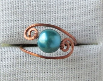 Teal Pearl Ring, Copper Band Solitaire, Gift for Sister