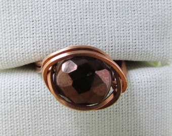 Copper Wire Wrapped Brown Faceted Bead Ring, Gift for Women