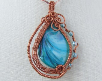 Turquoise Shell Teardrop Pendant, Copper Wire Wrapped, Gift Idea for Women